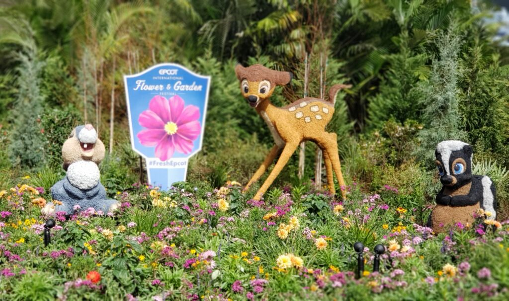 topiaries with bambi and other characters and flowers