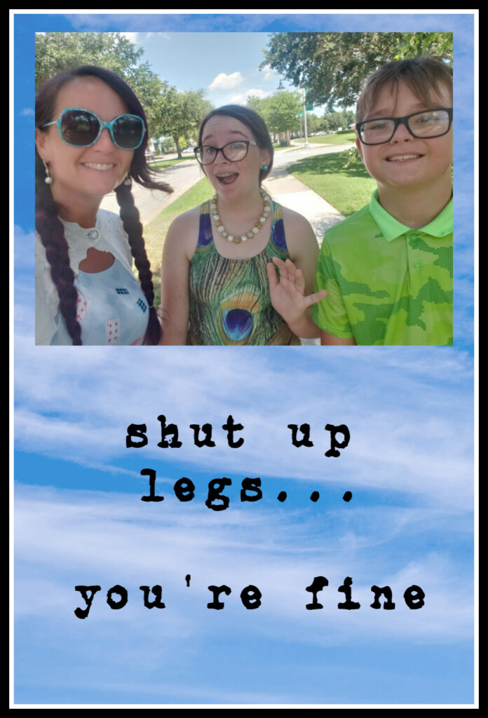 cloud background with image of three people quote under it says shut up legs you're fine