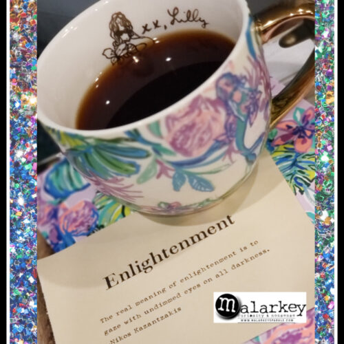 lilly pulitzer coffee cup with quote enlightenment