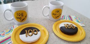 100th day of school - black and white cookie and drink