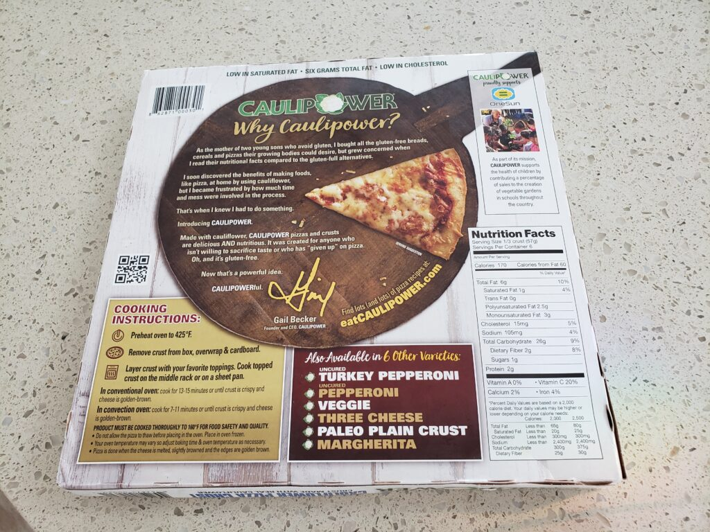 cauliflower pizza crust in the box - back of the box