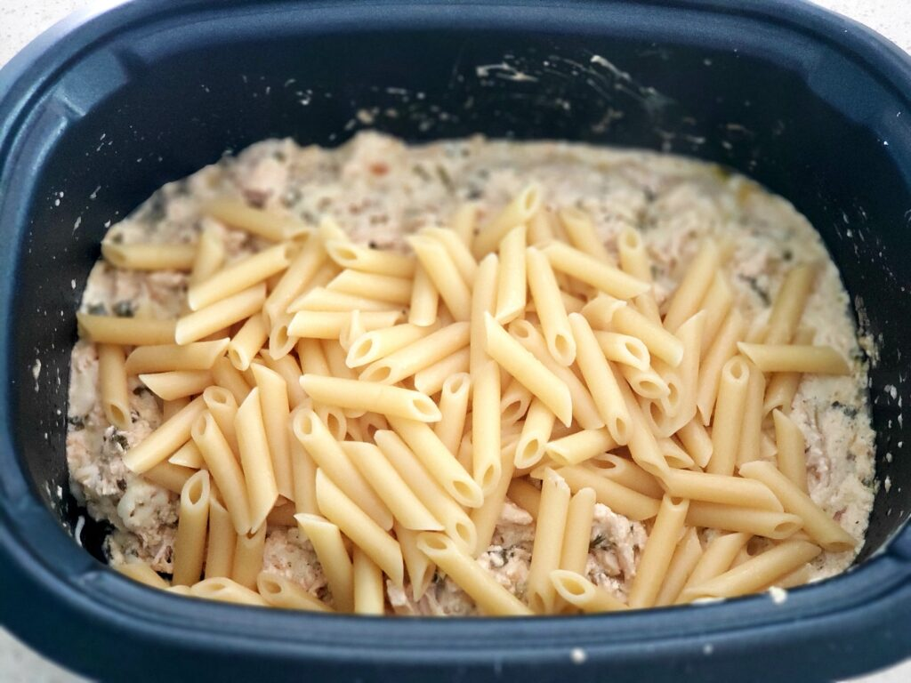penne pasta in a crockport
