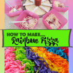 how to make rainbow pizza with bowls and cheese and a finished rainbow pizza