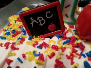 cake with ABC on top