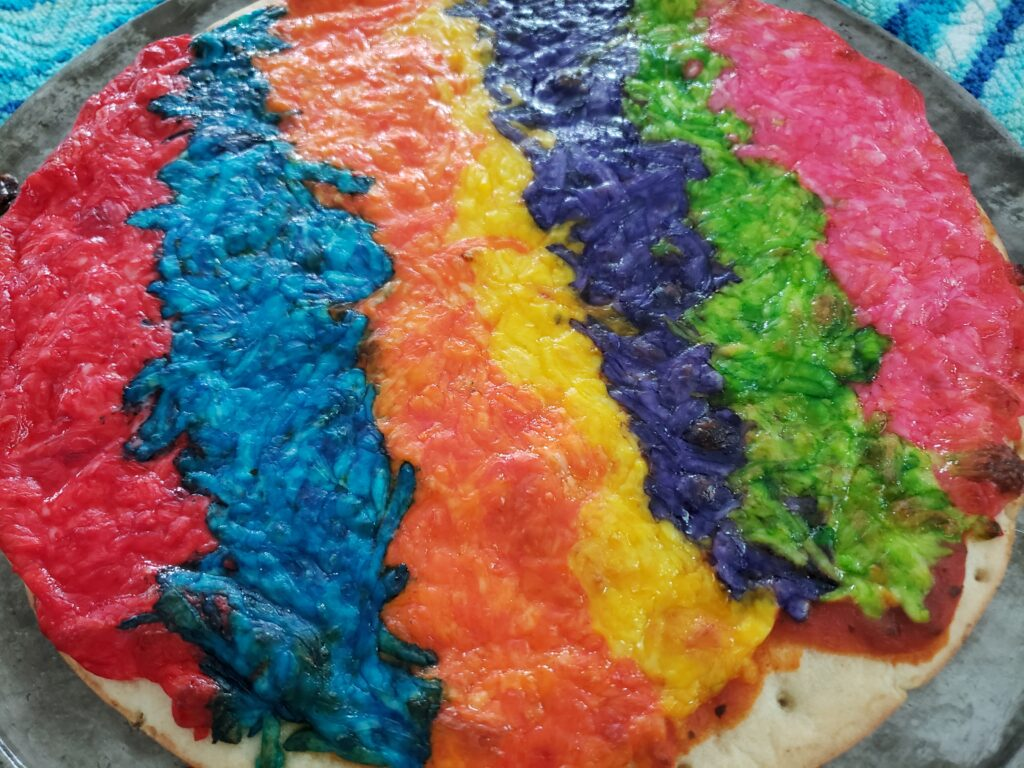 rainbow pizza - 7 colors baked
