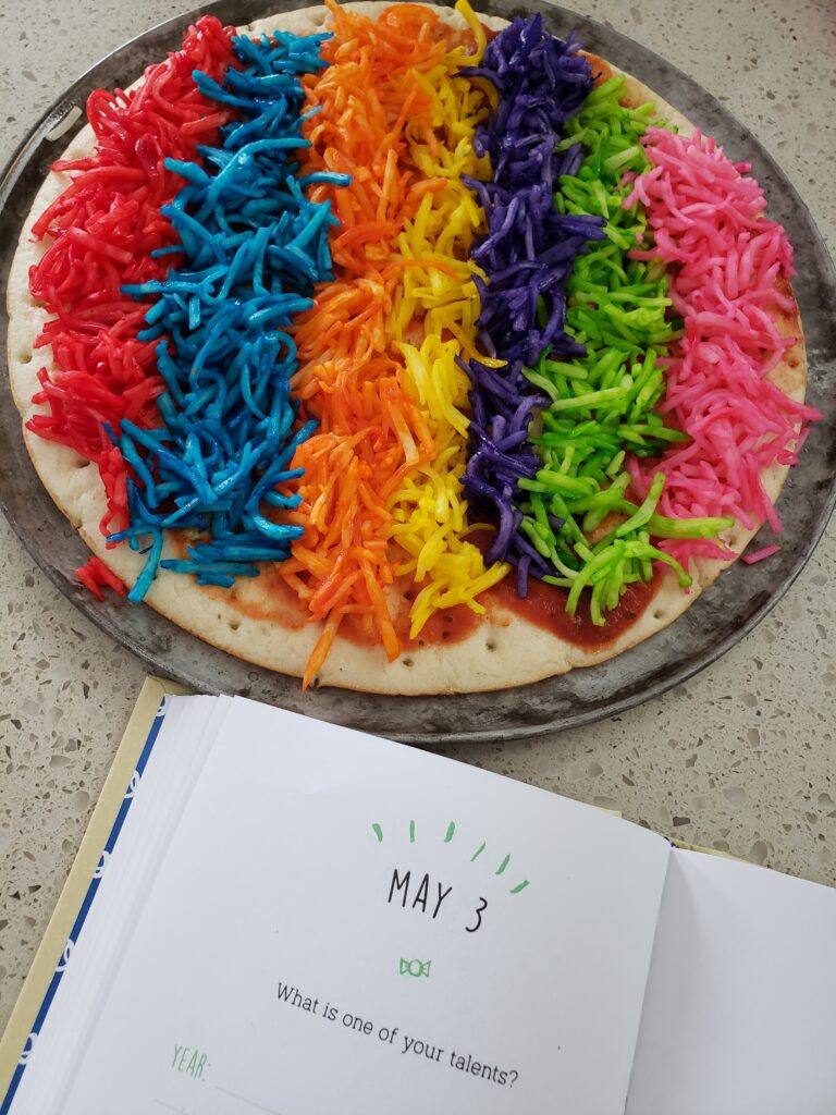 rainbow pizza - 7 colors unbaked with a question of the day