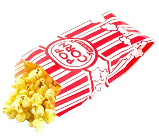 red and white popcorn bag with popcorn spilling out