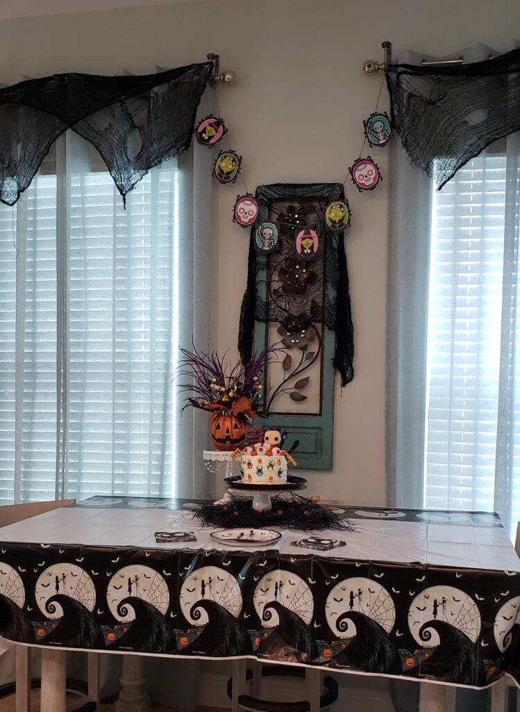 halloween cake on table set up