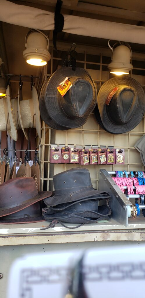 indiana jones swag at a cart in hollywood studios