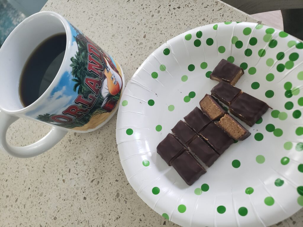 truth bat cut up on plate with coffee