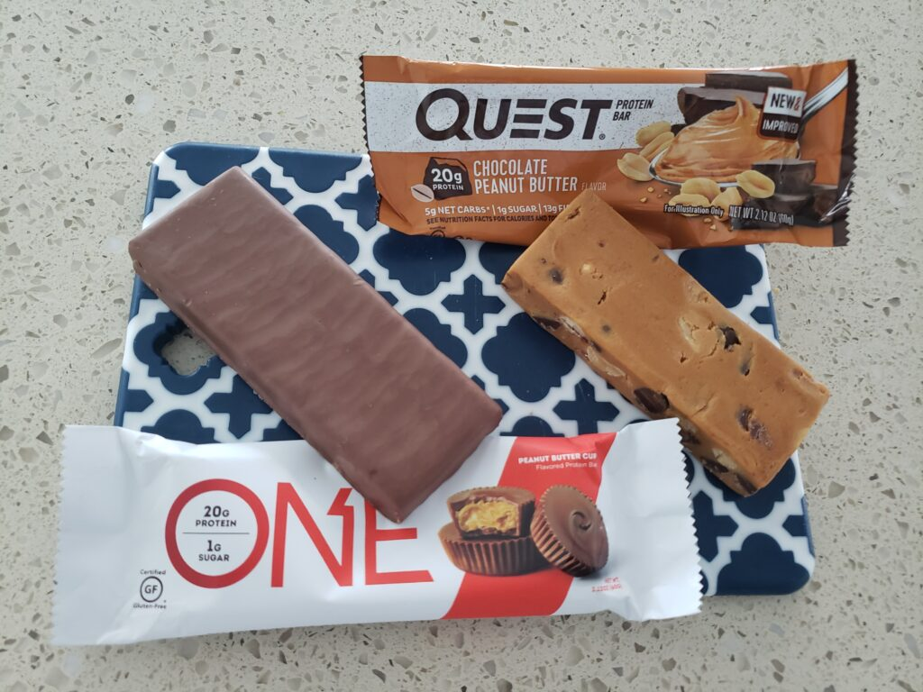quest and one protein bars open