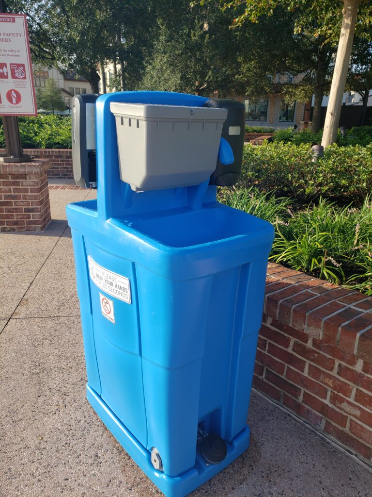 hand washing station in disney springs
