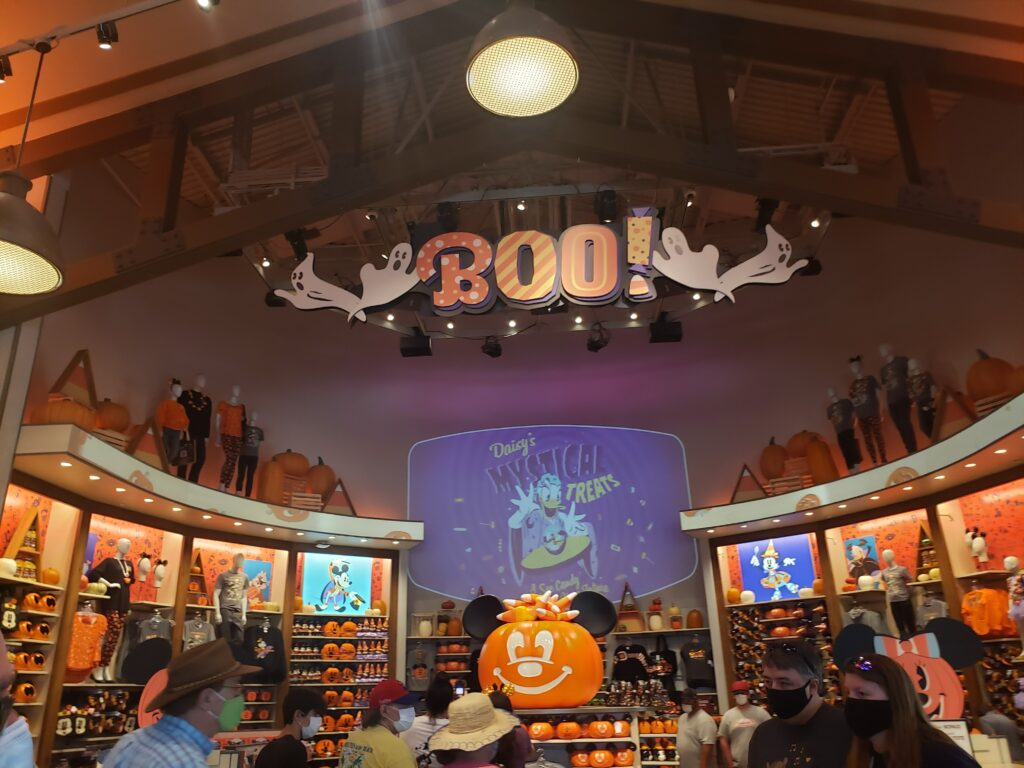 disney halloween swag = large pumpkin part of the store