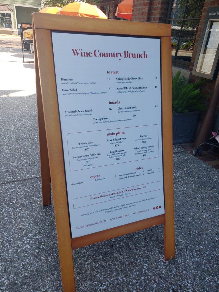 wine bar george brunch sign