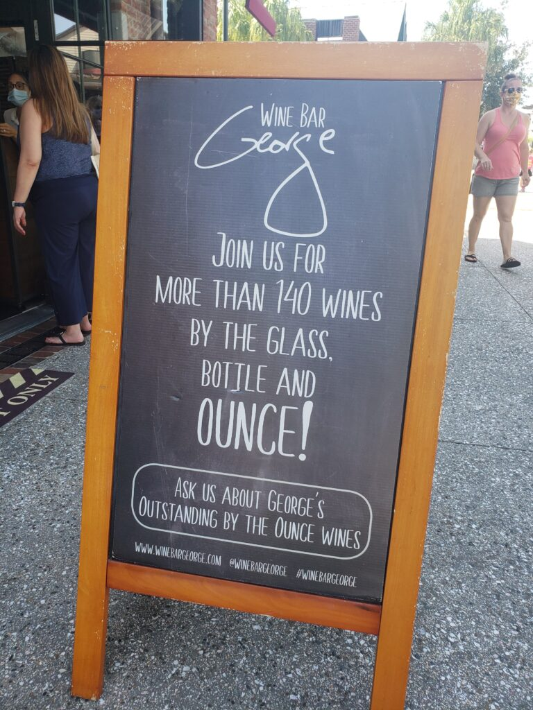 wine bar george sign