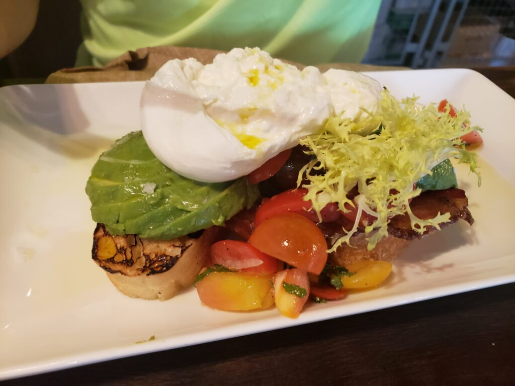 wine bar george - avacado toast