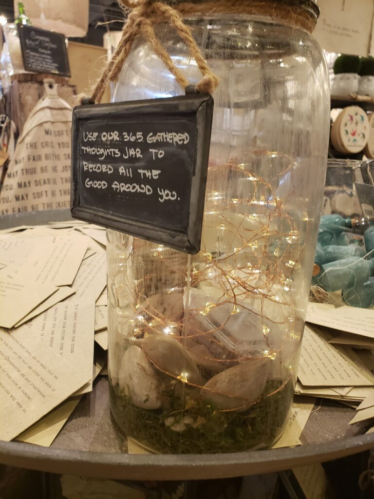 sugar boo store - jar with lights and gathered thoughts