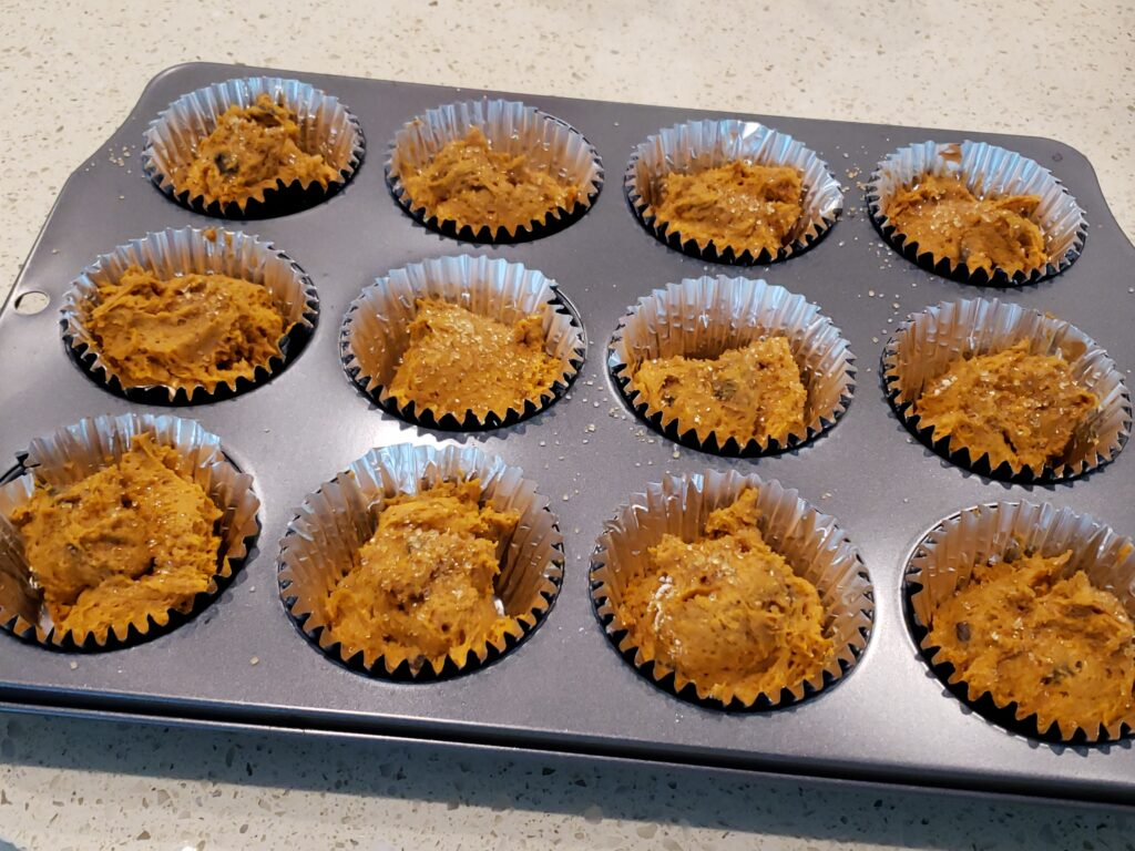 pumpkin muffins in the pan - NOT cooked