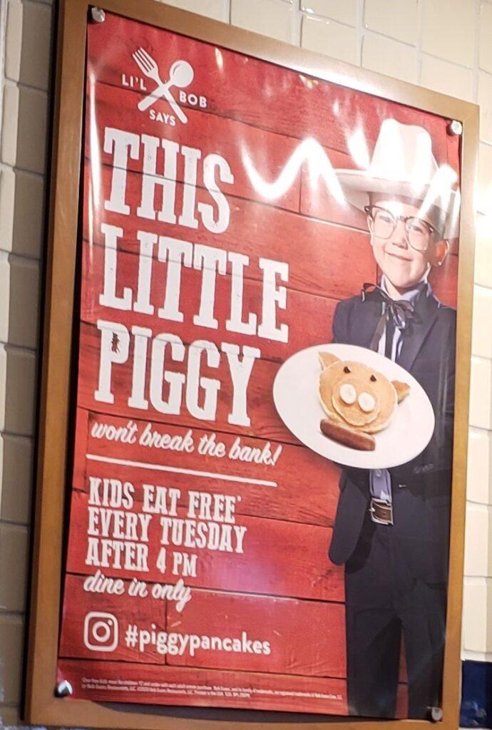 Bob Evans - This little Piggy Ad - kids eat free