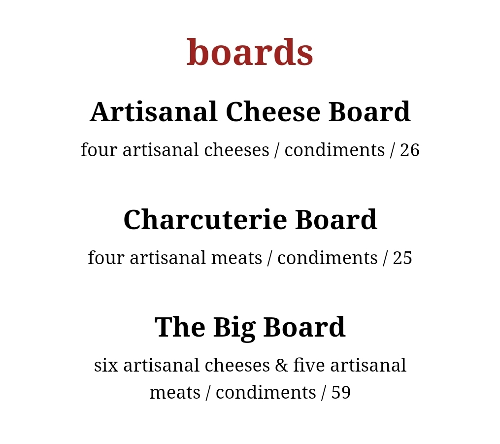 wine bar george boards