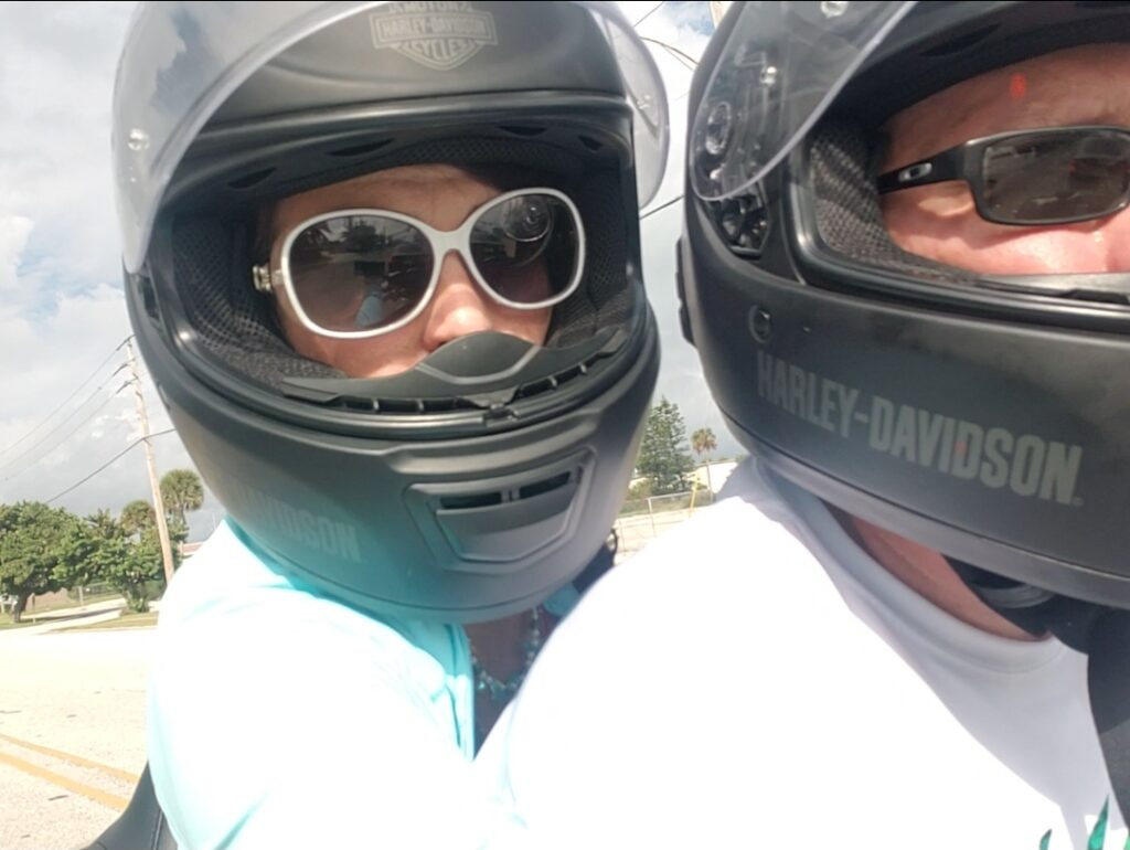 mark and tabithe with helmets on