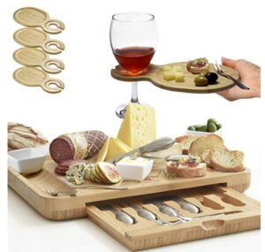 wine board with tray and serving