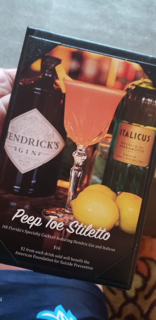 drink menu - hendrinks gin and money goes to suicide prevnetion