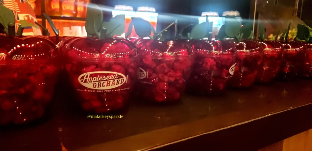 appleseed orchard apples filled with popcorn on a counter