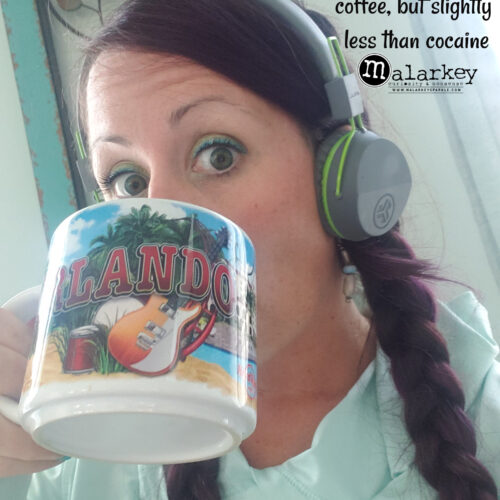 woman drinking coffee and a quote about cocaine