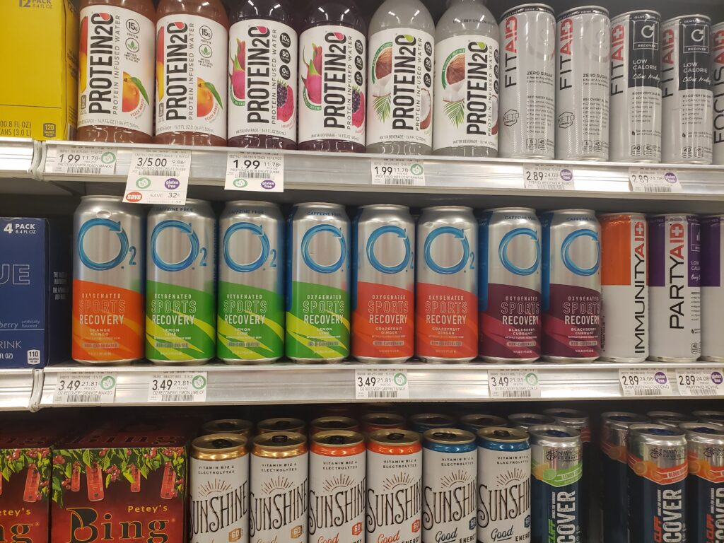 o2 recovery drinks at grocer
