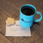 coffee - bliss quote and a leaf cookie