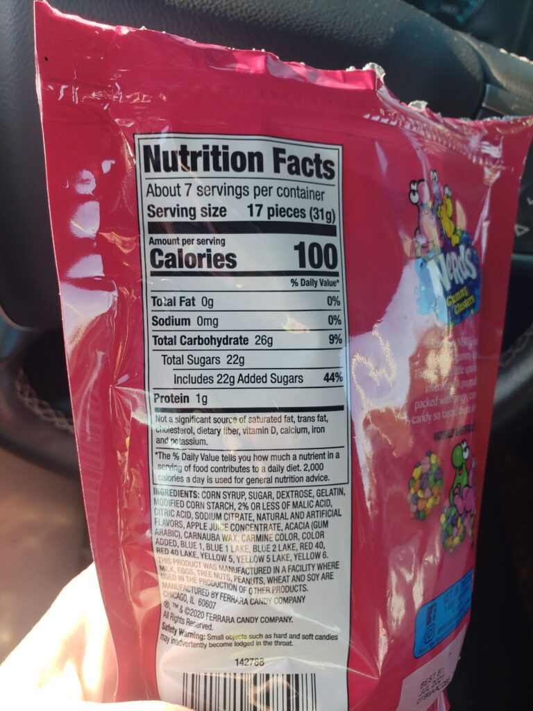 nerd rope candy nutrition facts