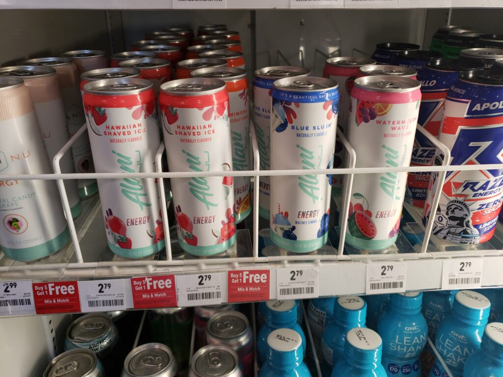 alai energy drinks on the shelf at GNC