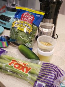 ingredients for a green juice shake