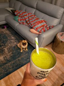 green drink with saoirse under a blanket and a dog