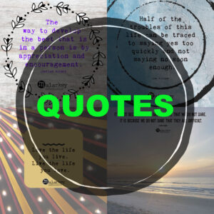 4 quotes with a circle on to p and the word quote on a a black circle