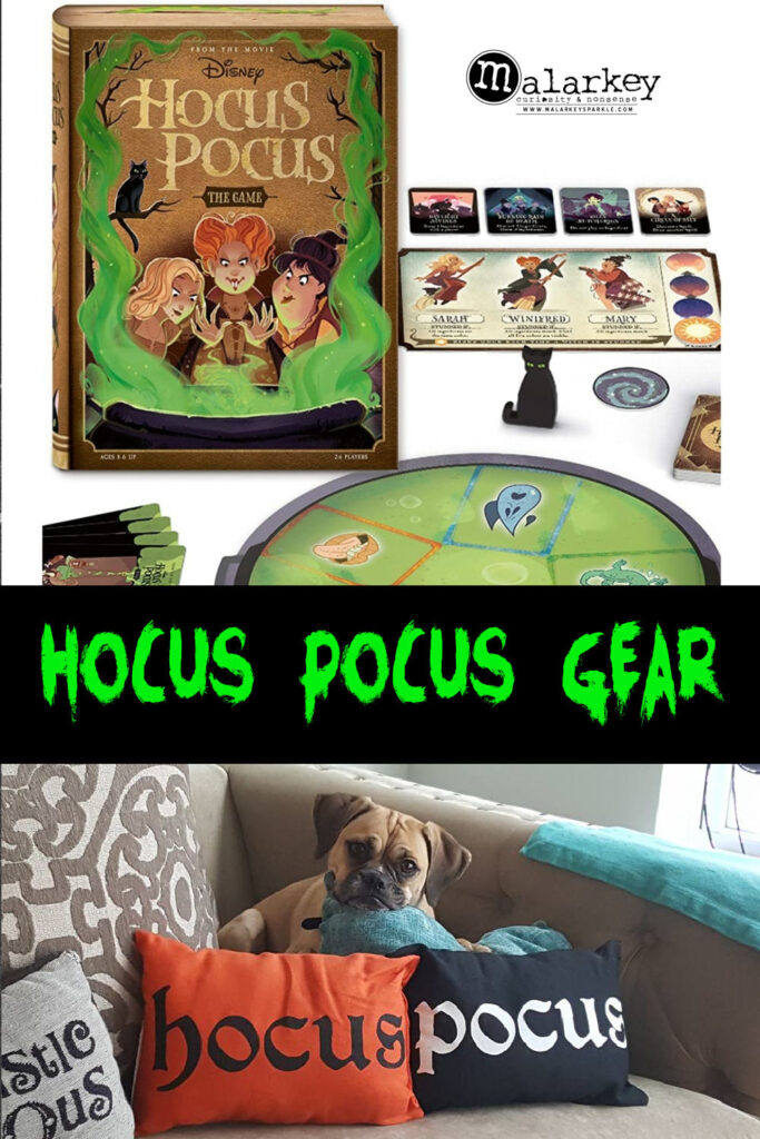 hocus pocus game and pillows with wording that ays hocus pocus gear