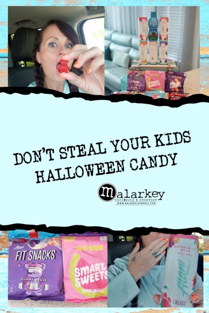 DONT STEAL YOUR KIDS HALLOWEEN CANDY - woman with gnc candy