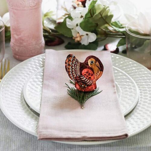 chocolate turkey on a place setting