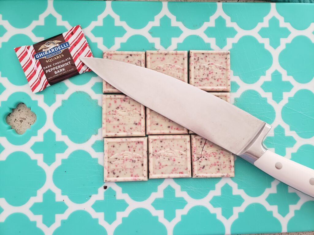peppermint squares on the cutting board