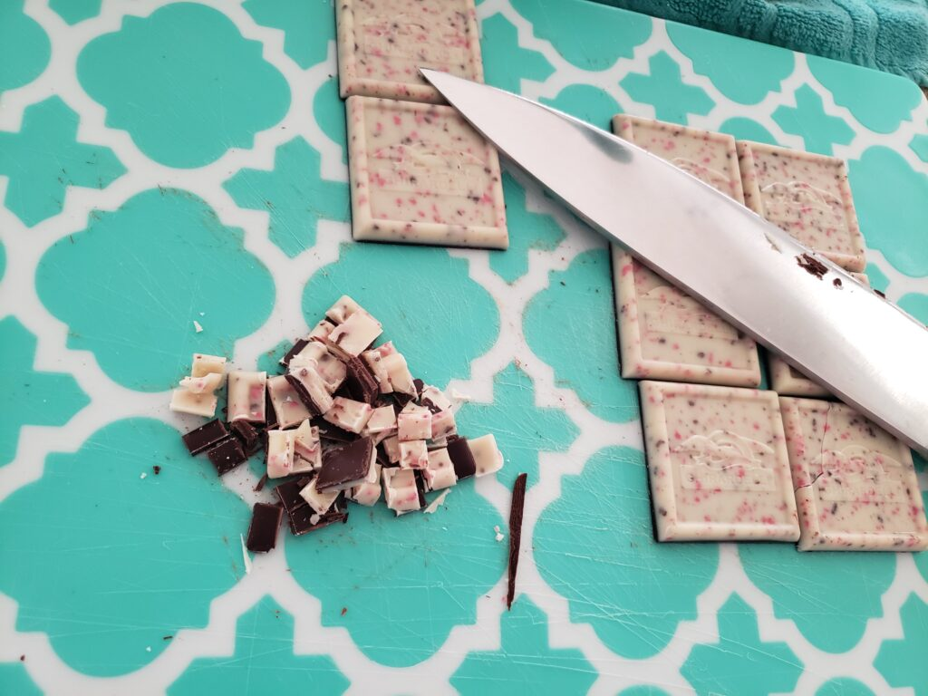 cut up peppermint squares for the fluff fudge