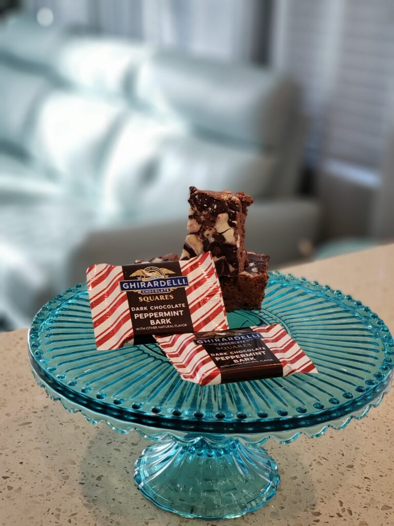fudge on a tray with peppermint chocolates