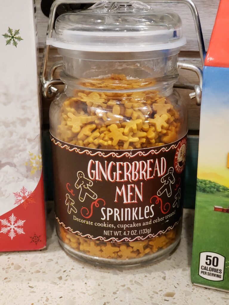 gingerbread men sprinkles in a jar