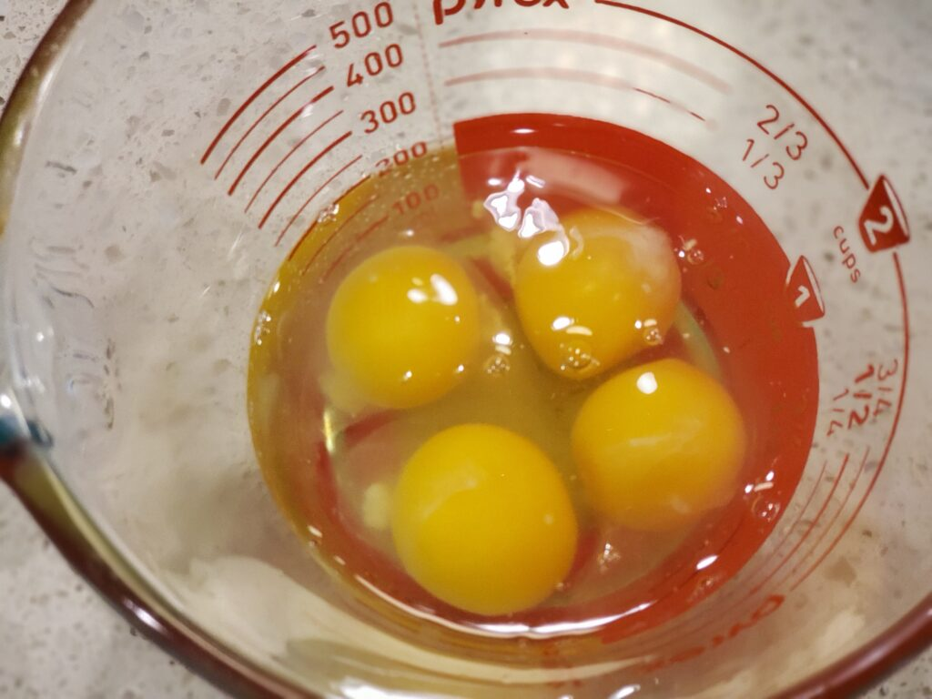 4 eggs in a bowl