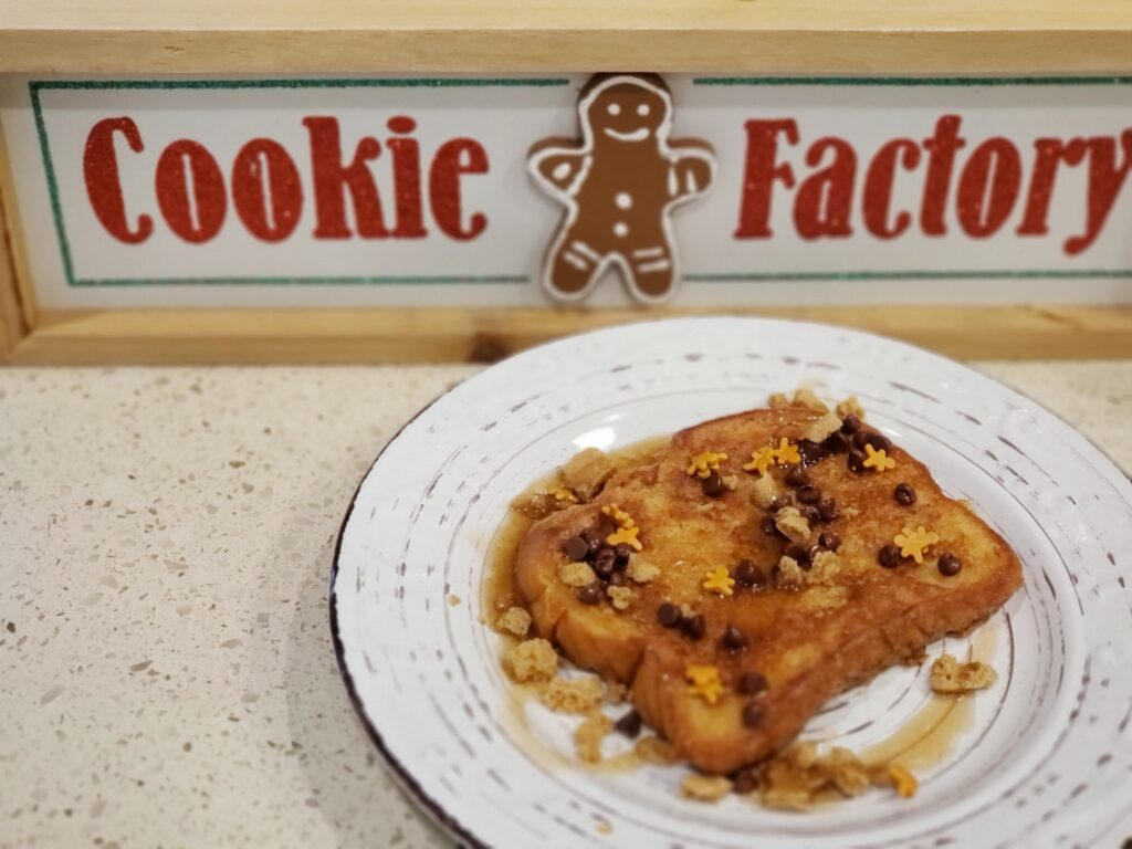 sign that says cookie factory - french toast on a plate