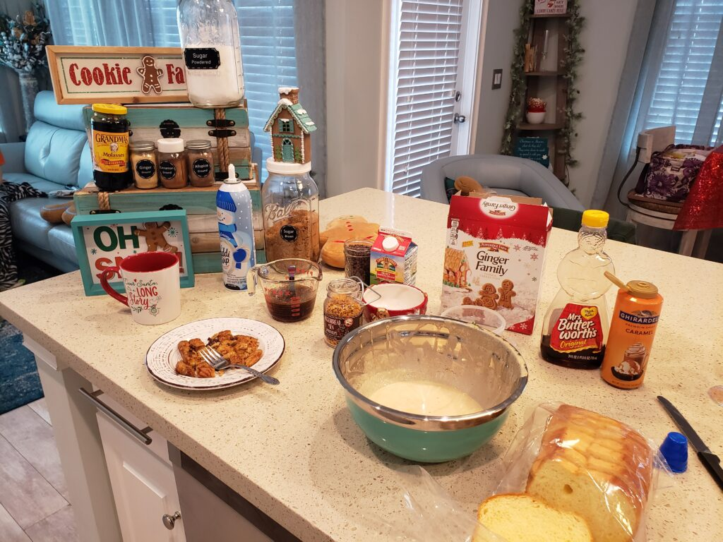 french toast ingredients all over the counter