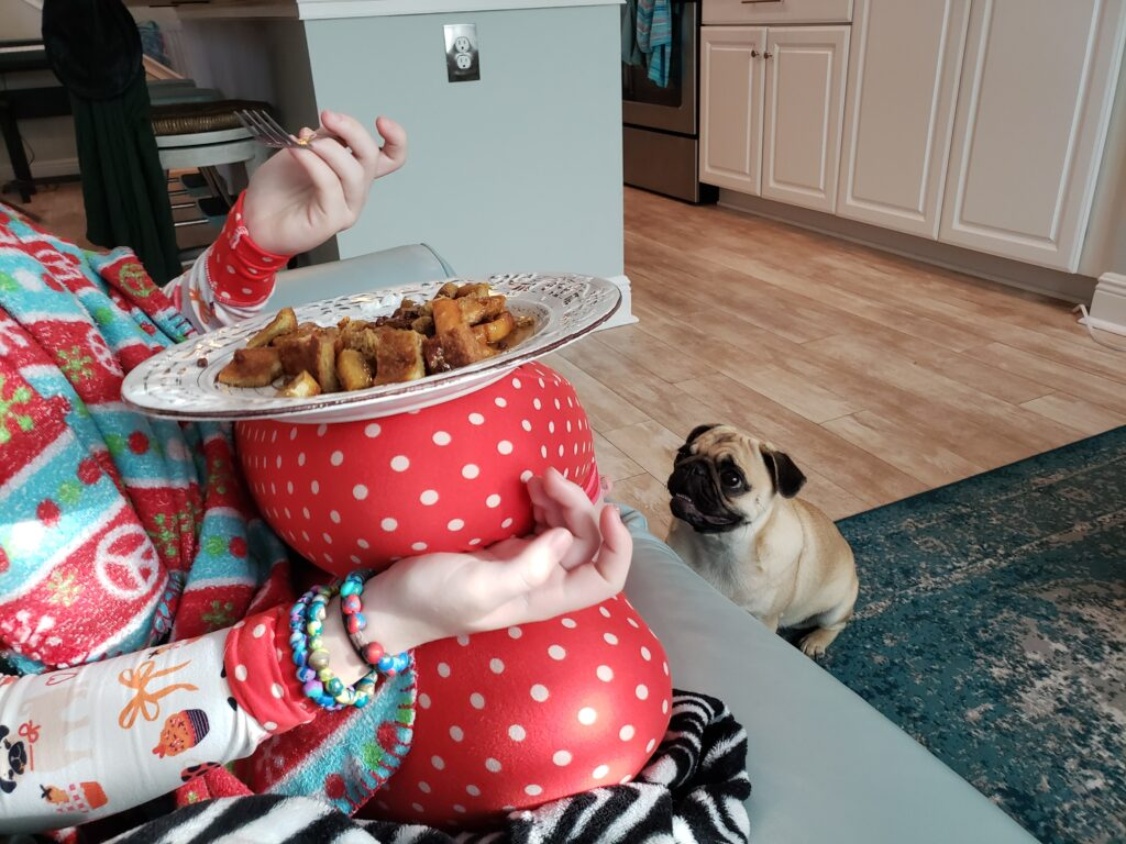 girls eating - french toast on a plate with pug infront of her