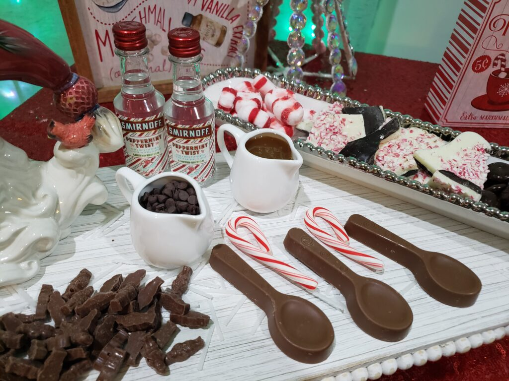 HOT COCOA CHARCUTERIE BOARD - chocolate spoons and little teats