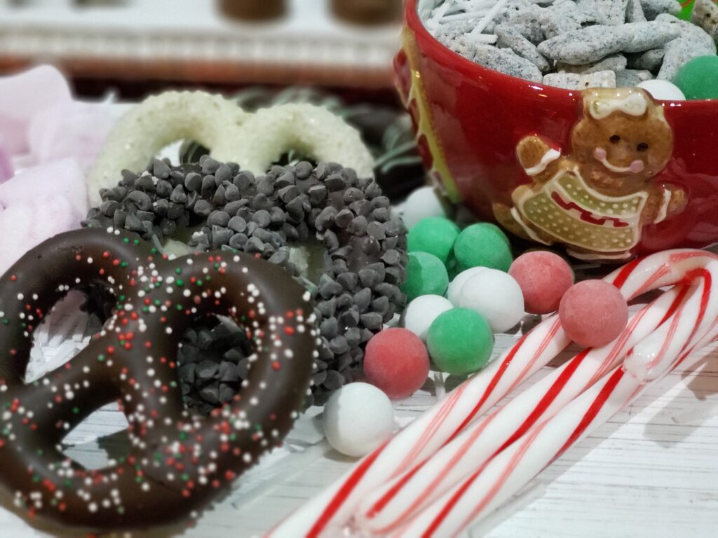 HOT COCOA CHARCUTERIE BOARD - candy canes and pretzels