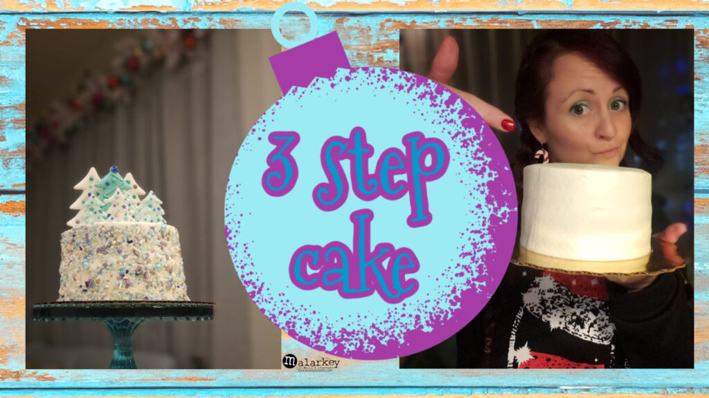image with cake and woman that says - Winter Wonderland Cake - 3 easy steps